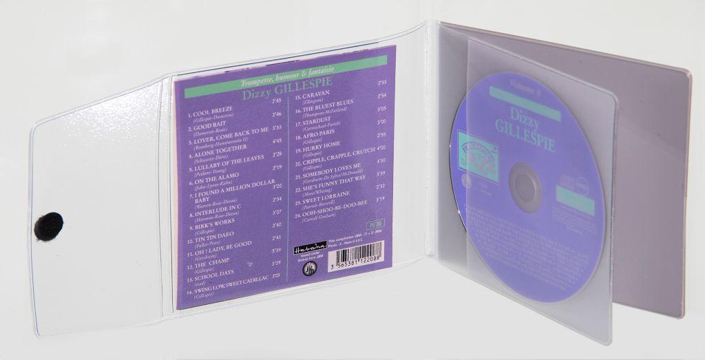 Etuis 1 CD semi rigide à rabat velcro int grainé en PVC